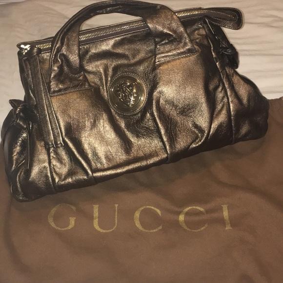 b1008eaae7e Gucci Handbags - Gucci Gold Metallic Calfskin Hysteria Handbag